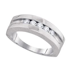0.50 CTW Mens Diamond Wedding Ring 10KT White Gold - REF-52X4Y