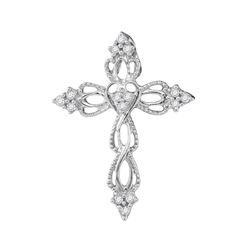 0.15 CTW Diamond Heart Cross Pendant 10KT White Gold - REF-12Y2X