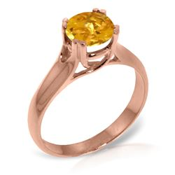 Genuine 1.10 ctw Citrine Ring Jewelry 14KT Rose Gold - REF-57T3A