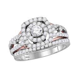 1.2 CTW Diamond Bridal Wedding Engagement Ring 14KT Two-tone Gold - REF-146N9F