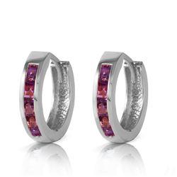 Genuine 0.85 ctw Amethyst Earrings Jewelry 14KT White Gold - REF-37P2H
