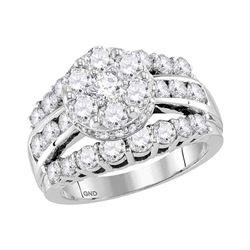 3.23 CTW Diamond Flower Cluster Bridal Engagement Ring 14KT White Gold - REF-304N5F