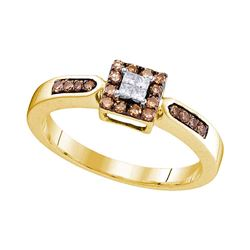 0.25 CTW Cognac-brown Color Diamond Square Cluster Ring 10KT Yellow Gold - REF-19K4W
