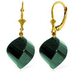 Genuine 30.5 ctw Green Sapphire Corundum Earrings Jewelry 14KT Yellow Gold - REF-44M4T