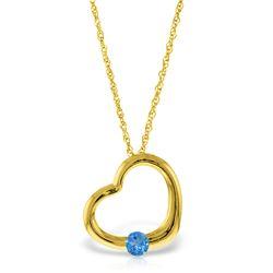 Genuine 0.25 ctw Blue Topaz Necklace Jewelry 14KT Yellow Gold - REF-29W2Y