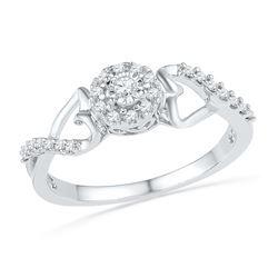 0.16 CTW Diamond Cluster Heart Promise Bridal Ring 10KT White Gold - REF-19Y4X
