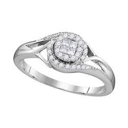 0.22 CTW Princess Diamond Cluster Bridal Engagement Ring 10KT White Gold - REF-22M4H