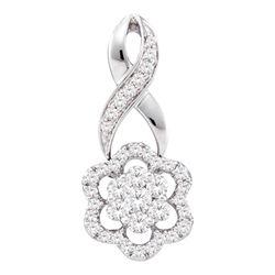 0.50 CTW Diamond Flower Cluster Pendant 14KT White Gold - REF-52Y4X