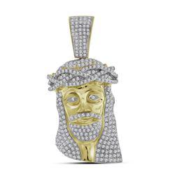 1.7 CTW Mens Diamond Jesus Head Pendant 10KT Yellow Gold - REF-89H9M