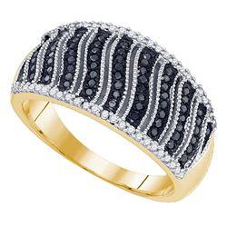 0.40 CTW Black Color Diamond Ring 10KT Yellow Gold - REF-40W4K