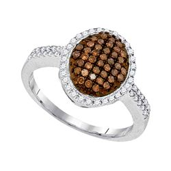0.45 CTW Cognac-brown Color Diamond Oval Cluster Ring 10KT White Gold - REF-30Y2X