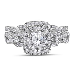 1.75 CTW Diamond Halo Bridal Engagement Ring 10KT Yellow Gold - REF-359X9Y