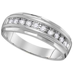 0.25 CTW Mens Diamond Single Row Grooved Wedding Ring 14KT White Gold - REF-44F9N