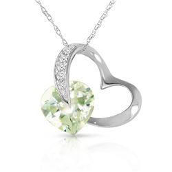 Genuine 3.35 ctw Amethyst & Diamond Necklace Jewelry 14KT White Gold - REF-49X8M