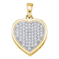 0.20 CTW Diamond Small Simple Heart Love Pendant 10KT Yellow Gold - REF-19K4W