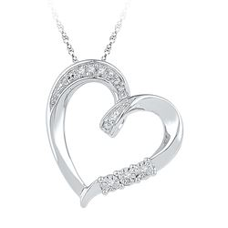 0.03 CTW Diamond Heart Love Pendant 10KT White Gold - REF-14Y9X