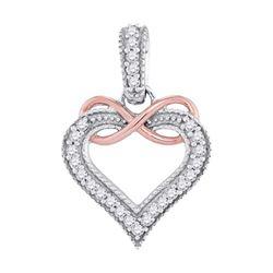 0.10 CTW Diamond Heart Infinity Pendant 10KT Two-tone Gold - REF-10W5K