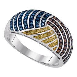0.40 CTW Multicolor Diamond Fashion Ring 10KT White Gold - REF-49K5W