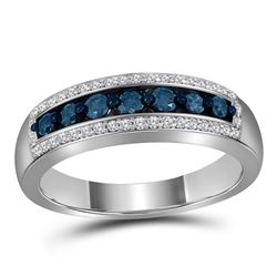 0.50 CTW Blue Color Diamond Ring 10KT White Gold - REF-41N9F