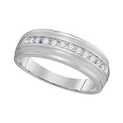 0.25 CTW Mens Diamond Single Row Milgrain Wedding Ring 10KT White Gold - REF-37N5F