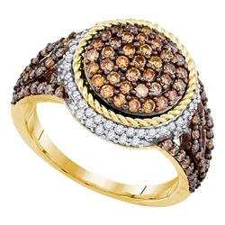 1.22 CTW Brown Color Diamond Cluster Ring 10KT Yellow Gold - REF-67Y4X