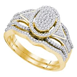 0.40 CTW Diamond Oval Cluster Bridal Engagement Ring 10KT Yellow Gold - REF-44F9N