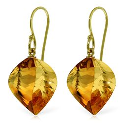 Genuine 23.5 ctw Citrine Earrings Jewelry 14KT Yellow Gold - REF-39A3K