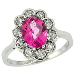 Natural 2.34 ctw Pink-topaz & Diamond Engagement Ring 10K White Gold - REF-69K8R