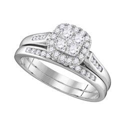 0.50 CTW Diamond Cluster Bridal Engagement Ring 14KT White Gold - REF-64W4K