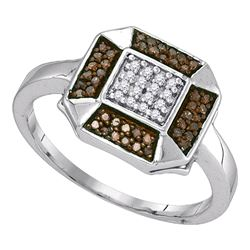 0.20 CTW Cognac-brown Color Diamond Square Cluster Ring 10KT White Gold - REF-16Y4X