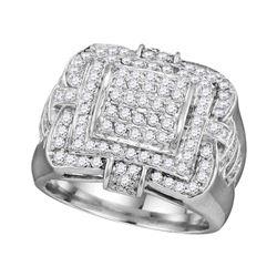 1 CTW Mens Diamond Layered Square Cluster Ring 10KT White Gold - REF-104K9W