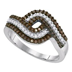 0.50 CTW Brown Color Diamond Ring 10KT White Gold - REF-25W4K