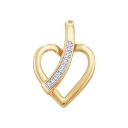 0.03 CTW Diamond Heart Love Pendant 10KT Yellow Gold - REF-8N9F