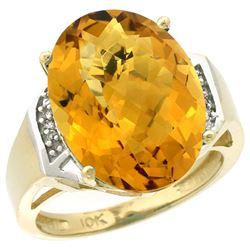 Natural 11.02 ctw Whisky-quartz & Diamond Engagement Ring 14K Yellow Gold - REF-60G3M