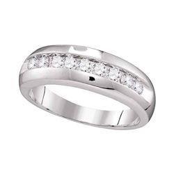 0.50 CTW Mens Diamond Single Row Wedding Anniversary Ring 10KT White Gold - REF-44W9K