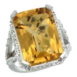 Natural 13.72 ctw Whisky-quartz & Diamond Engagement Ring 10K White Gold - REF-57R8Z
