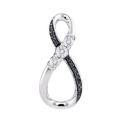 0.03 CTW Black Color Diamond Vertical Infinity Pendant 10KT White Gold - REF-12M2H