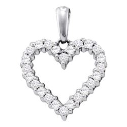 0.33 CTW Pave-set Diamond Heart Pendant 14KT White Gold - REF-30Y2X