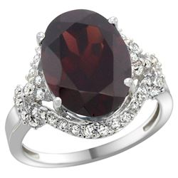 Natural 6.91 ctw garnet & Diamond Engagement Ring 14K White Gold - REF-97V5F