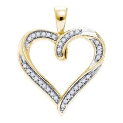 0.10 CTW Diamond Heart Outline Pendant 10KT Yellow Gold - REF-13K4W
