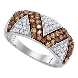 0.90 CTW Brown Color Diamond Zigzag Ring 10KT White Gold - REF-40F4N