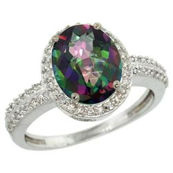 Natural 2.56 ctw Mystic-topaz & Diamond Engagement Ring 14K White Gold - REF-42N2G