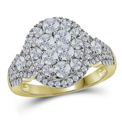 1.53 CTW Diamond Cluster Bridal Engagement Ring 14KT Yellow Gold - REF-149H9M