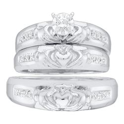 0.14 CTW His & Hers Diamond Claddagh Matching Bridal Ring 10KT White Gold - REF-37F5N