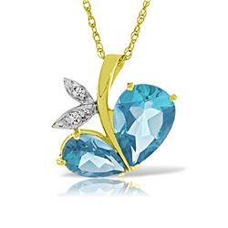 Genuine 5.26 ctw Blue Topaz & Diamond Necklace Jewelry 14KT Yellow Gold - REF-60R7P