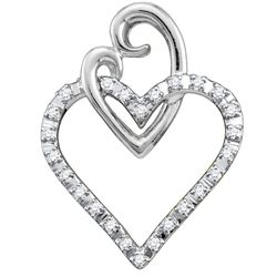 0.08 CTW Diamond Double Joined Heart Pendant 10KT White Gold - REF-9H7M