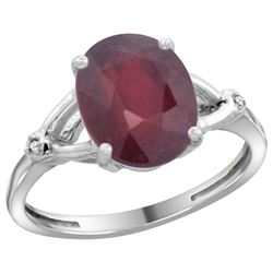 Natural 3.65 ctw Ruby & Diamond Engagement Ring 14K White Gold - REF-38N9G
