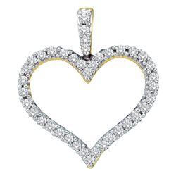 0.45 CTW Diamond Classic Heart Outline Pendant 14KT Yellow Gold - REF-48M7H