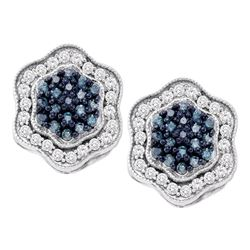 0.75 CTW Blue Color Diamond Hexagon Cluster Earrings 10KT White Gold - REF-41M9H