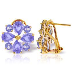 Genuine 4.85 ctw Tanzanite Earrings Jewelry 14KT Yellow Gold - REF-98T3A